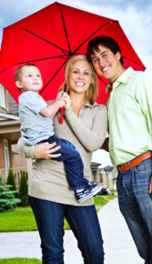happy family with red umbrella